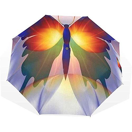 EW-OL Regenschirm Bunter Schmetterling Schöne Tiere Reisen Golf Sonne Regen Winddichte Regenschirme mit UV-Schutz Regenschirm