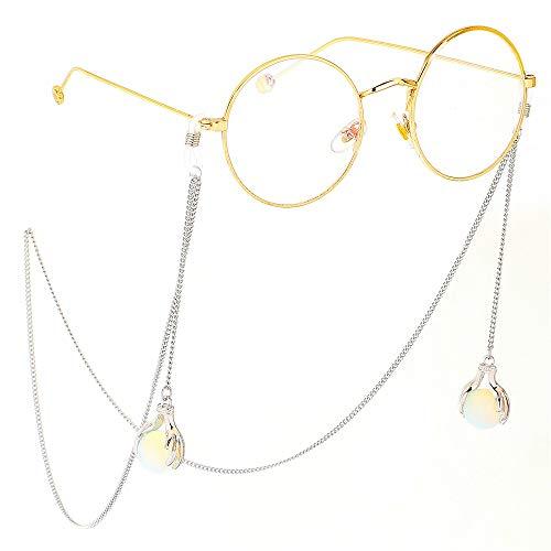 Yhjkvl-AC Cadena para gafas de sol de acero inoxidable plateado para mujer, cadena de gel Cristobalite colgante antideslizante para gafas (color: plata)