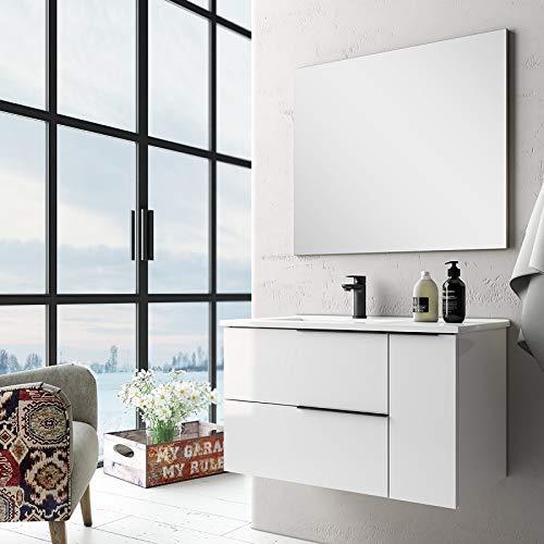 Aquareforma   Mueble de Baño con Lavabo y Espejo   Mueble Baño Modelo Eban 2 Cajones y 1 Puerta   Muebles de Baño   Diferentes Acabados Color   Varias Medidas (Blanco Brillo, 100 cm)
