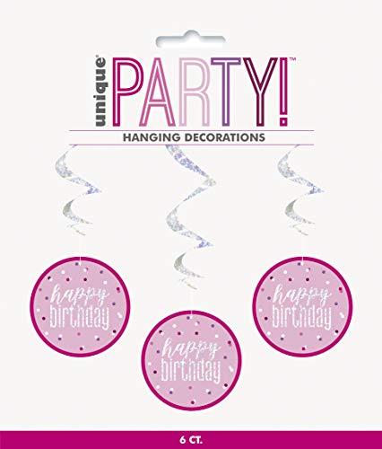 BLING - Decoración de fiesta y vajilla para 80 cumpleaños en rosa Glitz (HB colgantes remolinos)