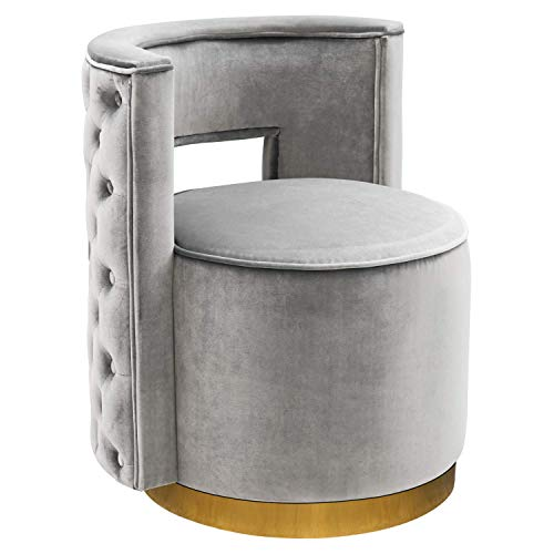HOMEFUN Swivel Vanity Chair, Accent Modern Upholstered Barrel Chair Stool for Bedroom Living Room with Gold Base Silvery Grey