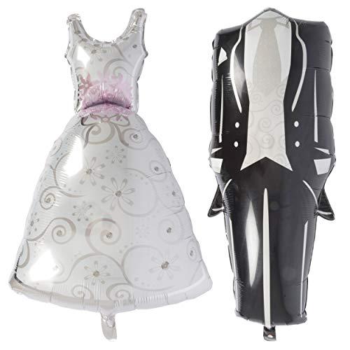 TopTen Folienluftballon Hochzeit XL Mann Frau Deko Braut Bräutigam Kleid Anzug