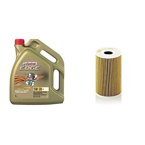 Castrol Edge 5W-30 LL Motorenöl 5L + Mann Filter Ölfilter HU 7008 Z - Ölfilter Satz mit Dichtung/Dichtungssatz - Für PKW