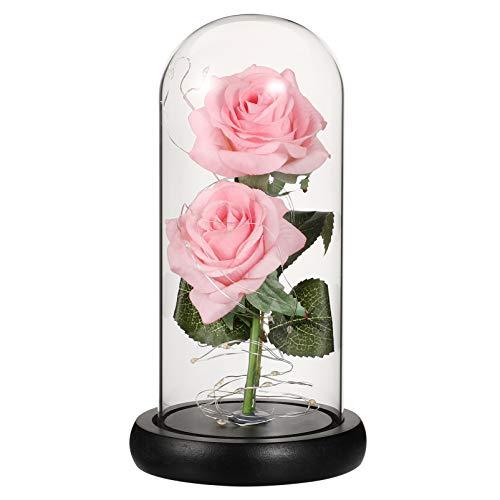 Homoyoyo La Bella Y La Bestia Rose Kit Foil Rose and Led Light in Glass Domo Pink Rose Que Dura para Siempre para El Hogar Valentine Holiday Party Wedding Aniversario Decoración sin
