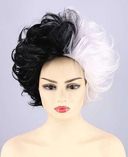 Topcosplay Peluca de Cruella de Vil Blanca y Negra, Peluca de Mala Mujer Cortas Pelucas Disfraces para Halloween Cosplay Carnaval