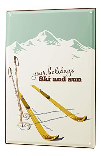 LEotiE SINCE 2004 Blechschild Vintage Retro Metallschild Wandschild Blech Poster Retro Ski Urlaub