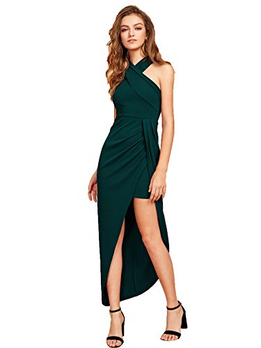 MakeMeChic Women's Sleeveless Split Ruched Halter Party Cocktail Long Dress Green L