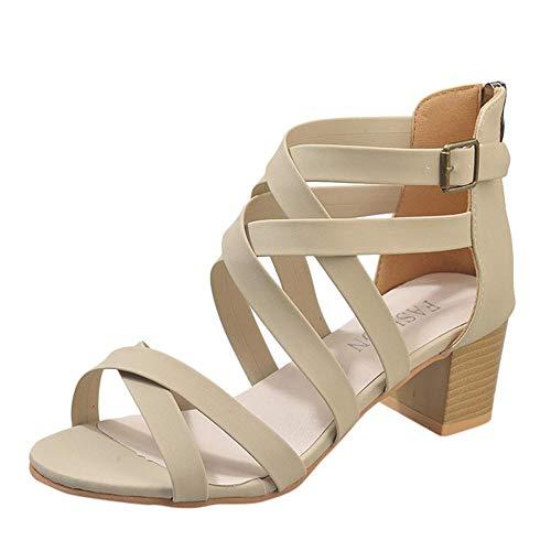 pequeño y compacto VJ GOAL Sandalias de moda de verano para mujer con hebilla de tobillo hueca y cremallera.  Zapatos romanos;  zapatos casuales con puntera …