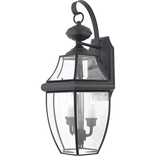 "Quoizel NY8317K Newbury Outdoor Wall Lantern Wall Mount Lighting, 2-Light, 120 Watts, Mystic Black (20""H x 11""W)"