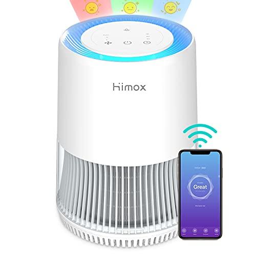 Purificatore d'Aria Smart HIMOX con Filtro HEPA H13, Depuratore con APP e Alexa, CADR 190m³/h,49㎡, Rimuove 99,97% di Allergeni Fumo Polvere Polline Dander di Pet Odore