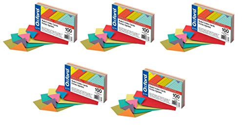 Oxford Extreme Index Cards, 3 x 5 Inches, Assorted Colors, 100 per pack, Pack Of 5, 500 Cards Total (04736)