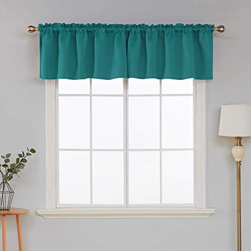 Deconovo Valance Curtain Window Kitchen Valance Blackout Valance Curtain for Basement Window 52x18 Inch Turquoise 1 Panel