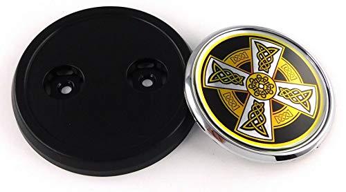 Celtic cross flag Car Truck Black Round Grill Badge 3.5' grille chrome emblem