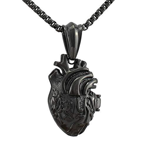Serebra Jewelry 3D Anatomisches Herz Anhänger Halskette aus Edelstahl in Silber Schwarz Gold Damen Herren Unisex (Schwarz Klein)