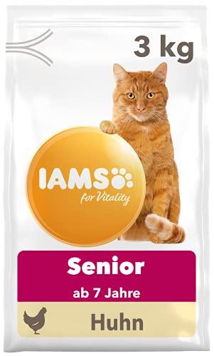 IAMS for Vitality Senior Katzenfutter trocken - Trockenfutter für ältere Katzen ab 7 Jahren mit frischem Huhn, 3 kg