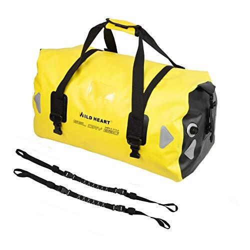 Willd Heart Bolsa de Equipaje Impermeable 40l 66l 100l, con Soldadura, apropiada para piragüismo, Campamento, Remo, Moto (66L Amarillo con Cuerda)