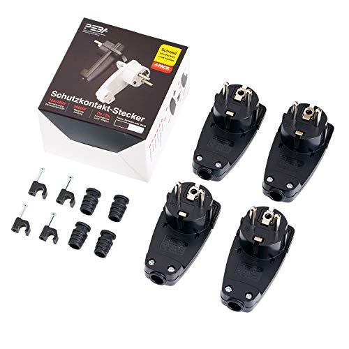 Schutzkontakt-Stecker mit Knickschutztülle,spritzwassergeschützt, Dünnschnitt Schutzkontakt Stecker aus SEBS bruchfest,Schwarz 4er-Pack