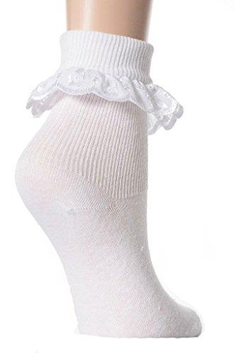 6 Pairs Babies /& Girls White Cotton Rich R/üschen Broiderie Anglaise Kn/öchel Pretty Fancy Lace Socken f/ür Schule oder Spiel