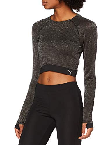 PUMA Studio Metallic LS Top Camiseta, Mujer, Black, L