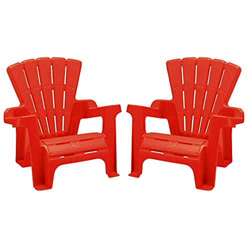 American Plastic Toys Kids' Adirondack Chairs (Pack of 2), Red, Outdoor, Indoor, Beach, Backyard,...