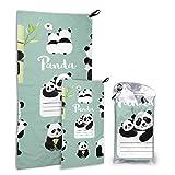 N\A Cute Chinese Panda Souvenir Gift 2 Pack Microfiber Elegant Beach Towel Toallas de Playa para Hombres Set de Secado rápido Lo Mejor para Viajes de Gimnasio Mochilero Yoga Fitnes