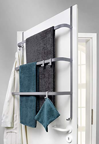 Metall Tür-Aufbewahrung | hängend | ohne Bohren | Handtuchhalter mit 4 Haken / 3 Stangen - Hängeregal | universell passend für alle gängigen Türen (grau)