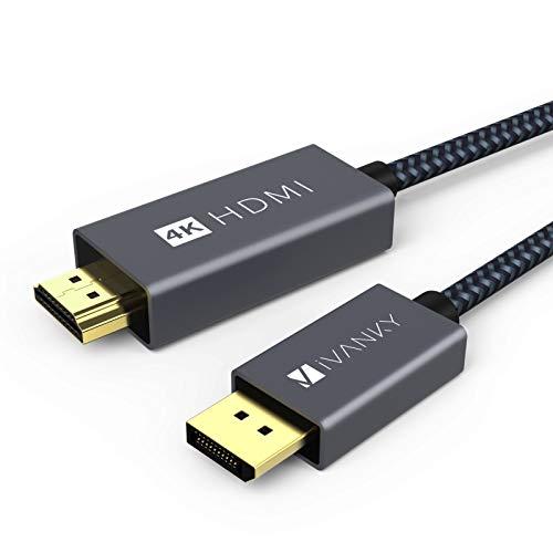 IVANKY Cable DisplayPort a HDMI 4K a 60Hz, 2M Cable de DP a HDMI Trenzado Nylon, Hombre a Hombre Compatible con HDTV, Portátil, AMD, NVIDIA, HP Elitebook, ThinkPad y Más - Gris