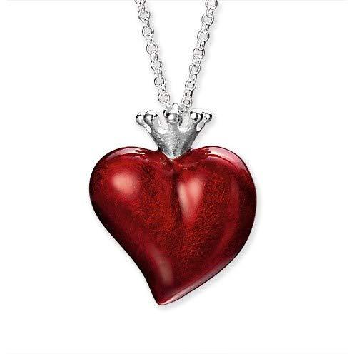 Heartbreaker Herz Anhänger mit Krone in Echtsilber | Kollektion Crown of my Heart | Großer Herzanhänger aus 925 Sterlingsilber | Eleganter Anhänger für Damen
