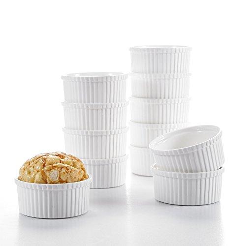 """MALACASA Série Ramekin Dish, 12pcs Ramequin Moule à Soufflé Crème Brulée Muffin Bols Porcelaine 3.5""""/9 * 9 * 5cm Petit!"""