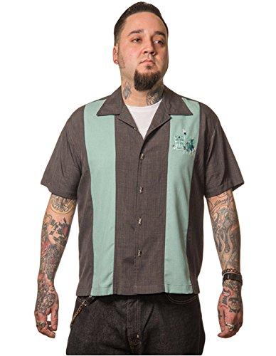 Steady Clothing Herren Vintage Bowling Hemd Tiki - The Mickey Retro Bowling Shirt Grau/grün L