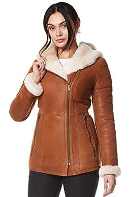 "Katniss Everdeen Ladies Real Leather Shearling Sheepskin Jacket Short Fitted Chestnut Biker Style Nv-39 (14 for Bust 36"")"