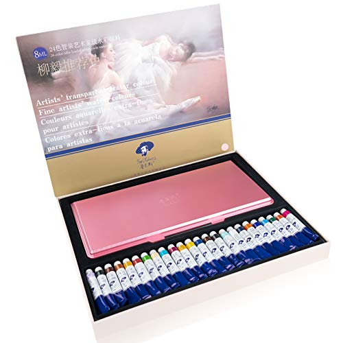 Paul Rubens Professional Watercolor Paint, Set of 24 Colors x 8ml Tubes Artist Grade Watercolor Painting Kit, with A Pink Palette, Vibrant Pigments, Perfect for Artist and Hobby Painters
