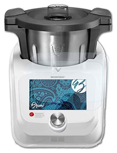 Bruni Película Protectora Compatible con Silvercrest Monsieur Cuisine Connect Protector Película, Claro Lámina Protectora (2X)