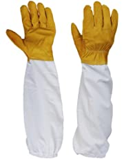 Generic Pair Protective Beekeeping Gloves, Goatskin Bee Keeping with Vented Long Sleeves - Yellow and White
