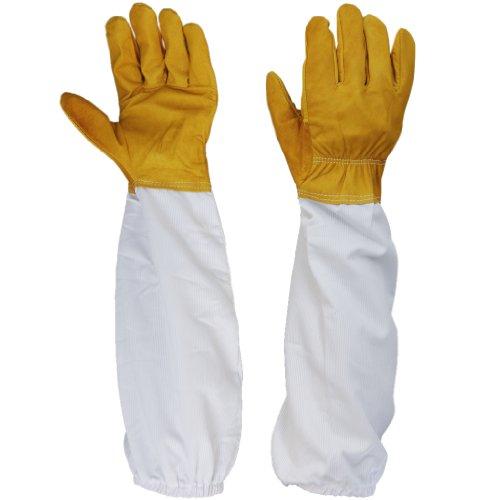 1 Par Guantes Protectores Manga Larga Ventilado Cuero de Cabra para Apicultor Apicultura Amarillo Blanco