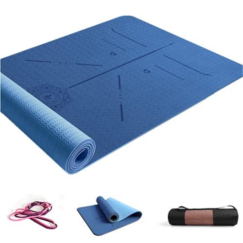 ZBK Esterilla de yoga de 6 mm de grosor TPE antideslizante línea de postura Esterilla de yoga ampliada, 183 × 68 × 0,6 cm – 10 colores