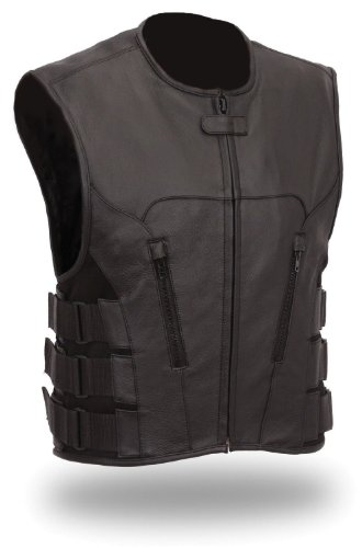 The Nekid Cow Men's Updated SWAT Team Leather Motorcycle Vest Soft Buffalo Leather - Tactical Outlaw Black Biker Vests for Men - Law Enforcement Style Protective Side Adjustment Soft Leather (XL)