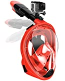 Gpeng Full Face Snorkel Mask, Foldable Snorkeling Mask with Detachable Camera Mount, 180 ℃ Panoramic View Diving Mask Dry Top Set Anti-Fog Anti-Leak for Adults and Kid