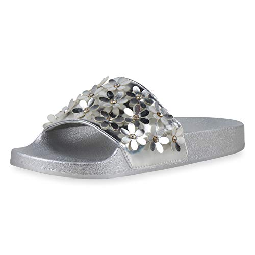 SCARPE VITA Damen Sandalen Pantoletten Flache Strass Schlappen Sommer Schuhe Bequeme Hausschuhe Blumen Schlupf-Schuhe 196188 Silber Silver 38