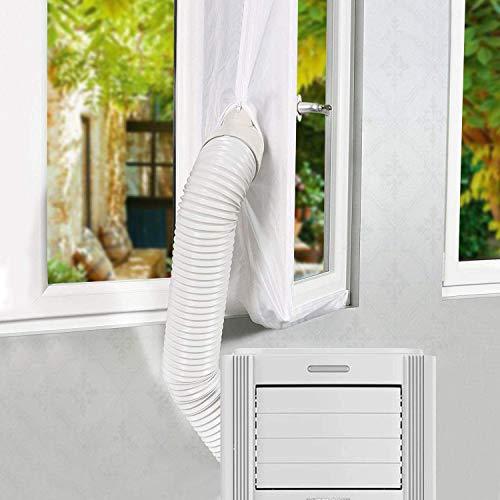2020 UPGRADE Gimars 400cm Guarnizione Universale da Finestre per Climatizzatori Mobili e Asciugatrici Adatta a Condizionatori Portatile Installazione Facile Senza Buchi Blocca L'aria Calda, Bianco
