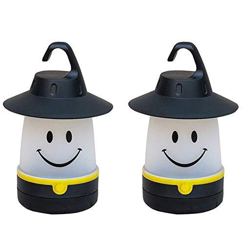hothuimin 2er-Pack tragbare LED-Laterne mit Smiley-Gesicht, für Kinder, Notfall-Lichter für Camping, Wandern, Angeln, schwarz
