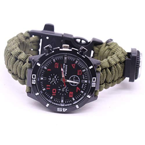 Hihey Survival Armband, Camping Watch mit multifunktionalen Outdoor Survival-Kits inkl. Paracord, Kompass, Pfeife, Leinenschneider, Fire Starter Scraper, Flint, Angeln Line, Angeln Haken (Armee Grün)