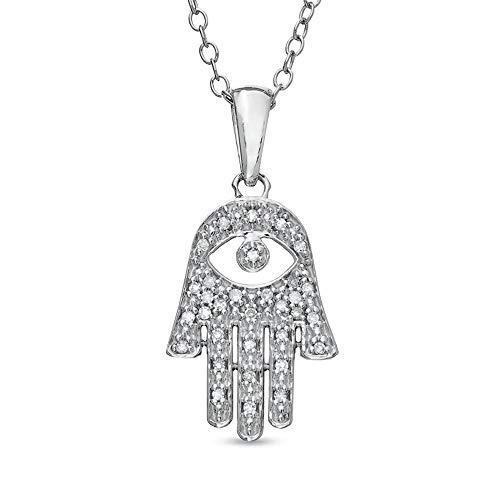 Colgante de diamante de corte redondo D/VVS1 Mano de Fátima con el mal de ojo para mujer en plata de ley 925