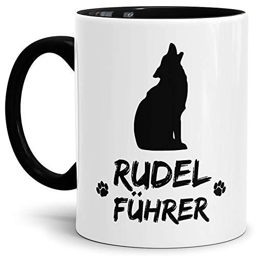 Tassendruck Wolf-Tasse Rudelführer Innen & Henkel Schwarz/Hunde-Tasse/Tasse mit Spruch/Schön/Mug/Cup/Beste Qualität - 25 Jahre Erfahrung