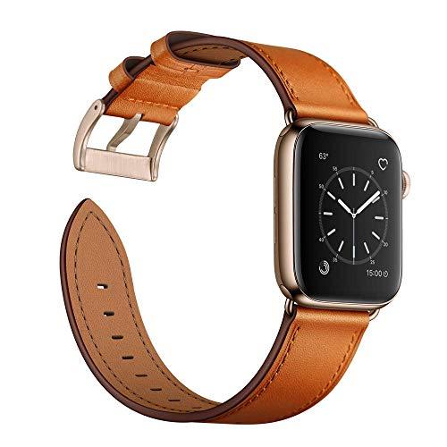 Arktis Lederarmband kompatibel mit Apple Watch (Series 1, Series 2, Series 3 mit 42 mm) (Series 4, Series 5 mit 44 mm) Wechselarmband [Echtleder] inkl. Adapter - Cognac-Braun