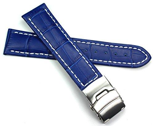 Sulla - Cinturino per orologio da uomo, in pelle, 22 mm, fibbia deployante...