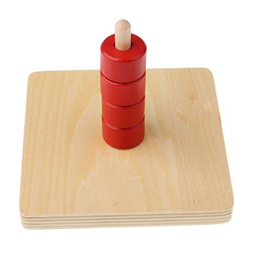 FLAMEER Empileur Géométrique Jouet éducatif Montessori Anneau de Lanterne à Cadran Vertical Cylindrique