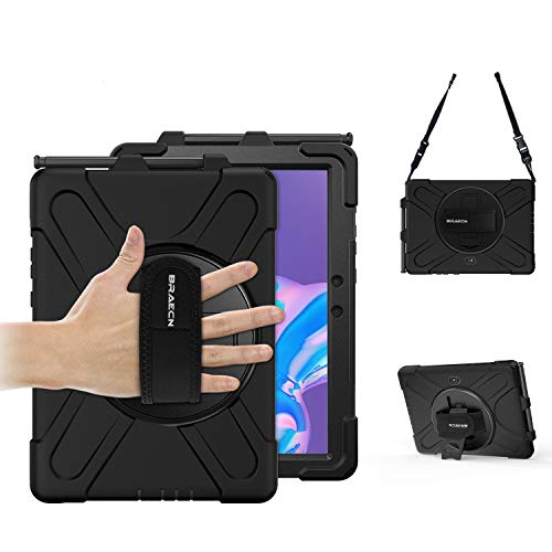 BRAECN Samsung Galaxy Tab Active Pro 10.1 Case, Rugged Protective Case with Pencil Holder Kickstand Hand/Shoulder Strap for Galaxy Tab Active Pro 10.1 Inch 2019 Model SM-T540/SM-T545/SM-T547-Black