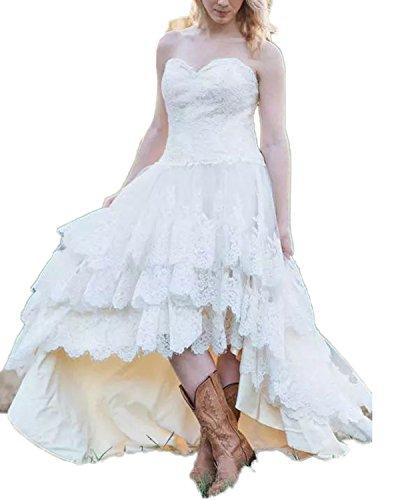 CoCogirls Western Land Vestido de encaje para boda, de alta baja, de novia, de gran tamaño Blanco 2 mes