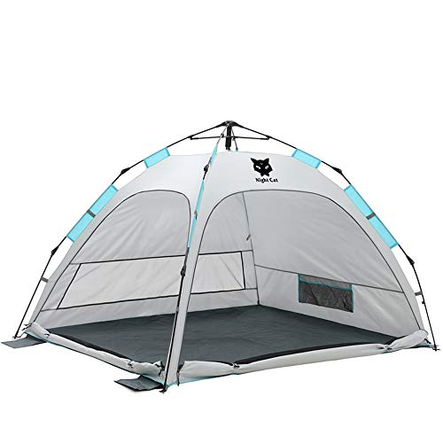 Night Cat Beach Tent for 2 3 Persons Sun Shade Shelter Cabana Canopy Easy Setup Instant Pop up Automatic Double Doors UV Protection